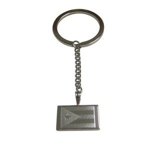 Etched Puerto Rico Flag Pendant Keychain